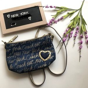 Blue/Gold Crossbody Coach Purse